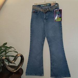 "Mudd 23"" Bell bottom jeans w/ silver glitter belt"